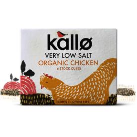 Ekologiški vištienos sultinio kubeliai KALLO FOODS, su sumažintu druskos kiekiu, 6x11 g