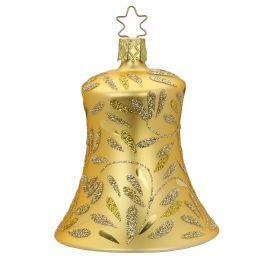 """Rankų darbo kalėdinis žaisliukas INGE-GLAS® """"Auksinis raštuotas varpelis"""", 8.5 cm, 1 vnt."""