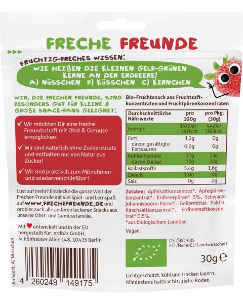 Vaisių guminukai FRECHE FREUNDE su braškėmis, 30 g 2