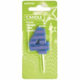 Žvakutė-skaičiukas 4 AMSCAN Dots & Stripes, 7.6 cm