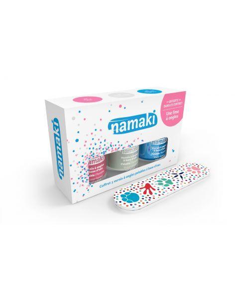 Vandeninių vaikų nagų lakų ir dildės rinkinys NAMAKI (rožinis, perlų baltos, šviesiai mėlynas), 1 vnt.