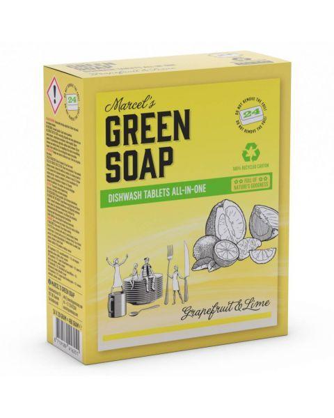 Indaplovių tabletės MARCELS GREEN SOAP su greipfrutais ir laimais, 24 vnt.