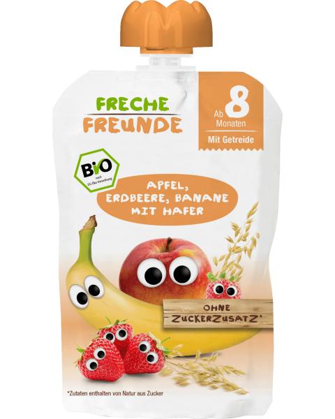 Obuolių, braškių, bananų tyrelė FRECHE FREUNDE su avižomis, nuo 8 mėn., 100 g