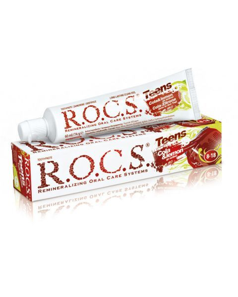 """Stiprinamoji dantų pasta R.O.C.S """"Cola & lemon"""" 8-18 metų vaikams, 74 g"""
