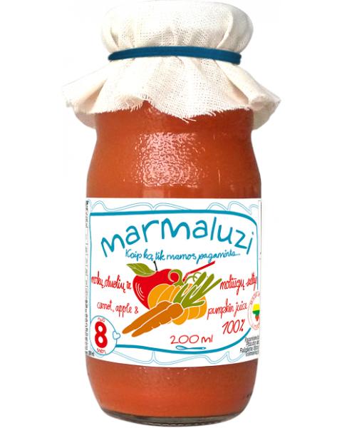 Obuolių, morkų ir moliūgų sultys MARMALUZI vaikams nuo 6 mėn., 200 ml