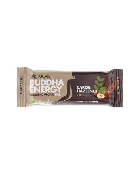 Batonėlis su saldžiavaisiu pupmedžiu (carob) ir lazdyno riešutais ISWARI Buddha Energy, 35 g