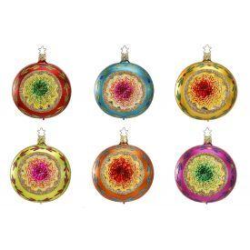 """Rankų darbo kalėdinis žaisliukas INGE-GLAS® """"Įvairių spalvų atspindžiai - burbulas"""", įvairių spalvų, 10 cm, 1 vnt."""