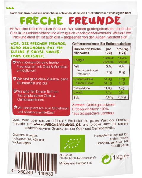 Ekologiški liofilizuoti braškių traškučiai FRECHE FREUNDE, 12 g 2