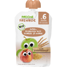 Obuolių ir persikų tyrelė FRECHE FREUNDE su spelta ir soromis, nuo 6 mėn., 100 g