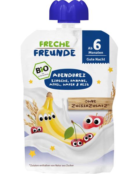 Ekologiška vyšnių, bananų, obuolių ir avižų tyrelė vakarienei FRECHE FREUNDE, nuo 6 mėn., 100 g