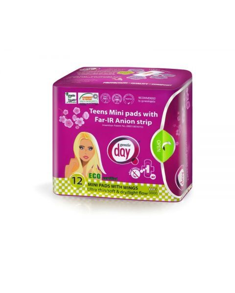Higieniniai paketai GENTLE DAY Teens Mini su anijonų juostele, 12 vnt.