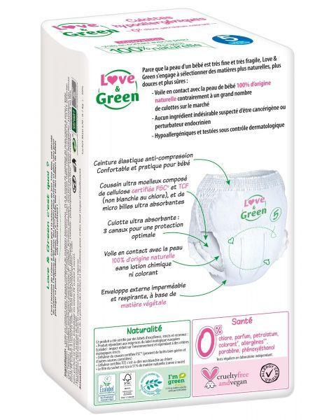 Ekologiškos sauskelnės-kelnaitės LOVE&GREEN, 5 dydžio, 12-18 kg, 18 vnt. 2