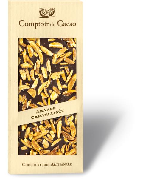 Juodasis šokoladas COMPTOIR du CACAO, su karamelizuotais migdolų riešutais, 90 g