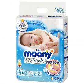 Japoniškos sauskelnės naujagimiams MOONY Newborn 0-5 kg, 90 vnt.