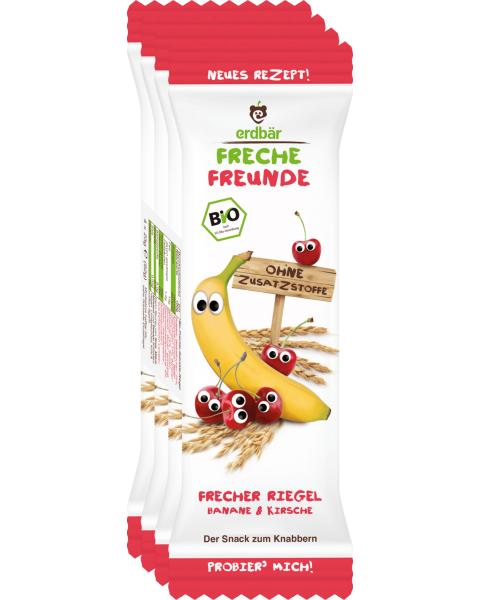 Ekologiškas batonėlis FRECHE FREUNDE su bananais ir vyšniomis, 4x23 g