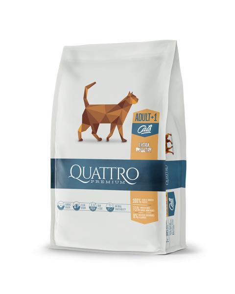 Sausas suaugusių kačių pašaras QUATTRO Extra poultry, 400g