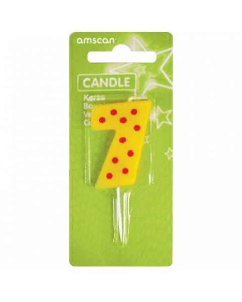 Žvakutė-skaičiukas 7 AMSCAN Dots & Stripes, 7.6 cm