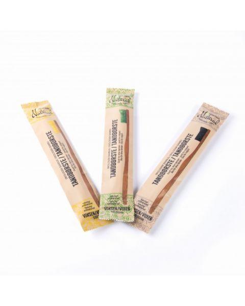 Minkštas bambukinis dantų šepetėlis SUZTAIN geltonos spalvos, 1 vnt. 2
