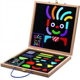 Medinis magnetinis žaidimas DJECO Geocharacter vaikams nuo 4 metų, 20 pavyzdžių dėliojimui, 35 magnetukai (DJ03136)