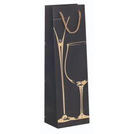 Dovanų maišelis ZOEWIE Glass of Wine Gold (12x9x39 cm), 1 vnt.