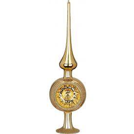 """Rankų darbo kalėdinis žaisliukas INGE-GLAS® """"Aukso atspindžiai - viršūnė"""", 7x25 cm, 1 vnt."""