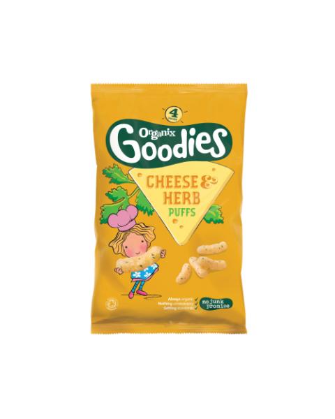Ekologiškos sūrio ir žolelių skonio kukurūzų lazdelės ORGANIX Goodies vaikams nuo 1 metų, 15 g