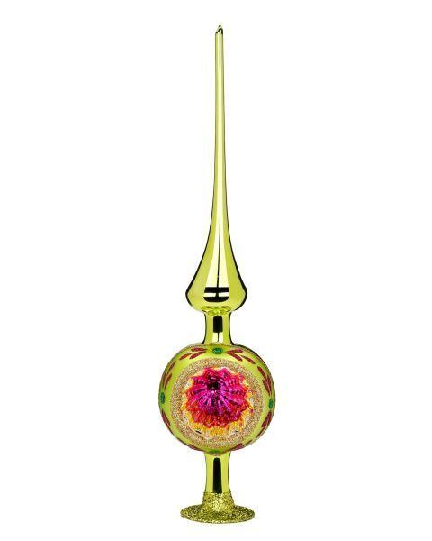 """Rankų darbo kalėdinis žaisliukas INGE-GLAS® """"Įvairių spalvų atspindžiai - viršūnė"""", žalsva, 8x33 cm, 1 vnt."""