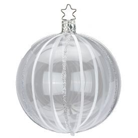 """Rankų darbo kalėdinis žaisliukas INGE-GLAS® """"Skaidrus dryžuotas burbulas"""", 8 cm, 1 vnt."""