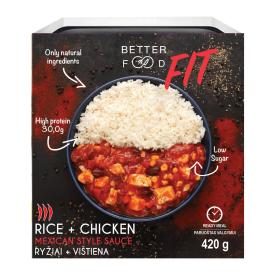 Paruošti vartoti ryžiai su vištiena meksikietiško stiliaus padaže (FIT) BETTER FOOD, 420g