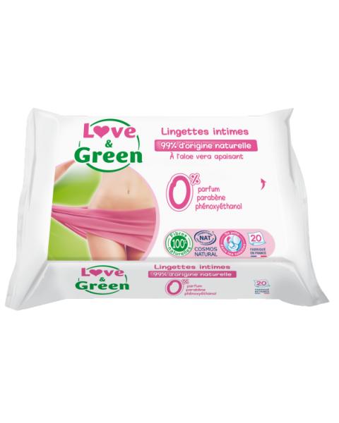 Ekologiškos raminančios servetėlės intymiai higienai LOVE&GREEN, 20 vnt.