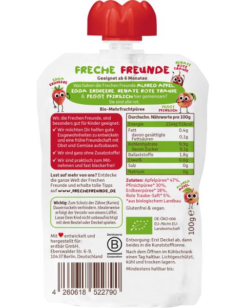 Ekologiška obuolių, persikų, braškių ir vyšnių tyrelė FRECHE FREUNDE, 100 g 2