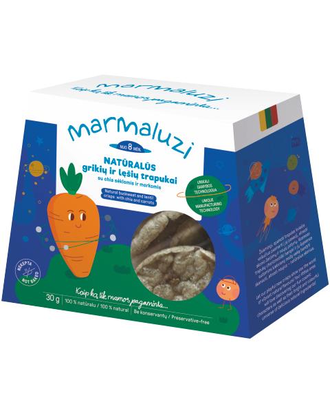 Naturalūs grikių ir lęšių trapukai MARMALUZI su čija sėklomis ir morkomis, 30 g