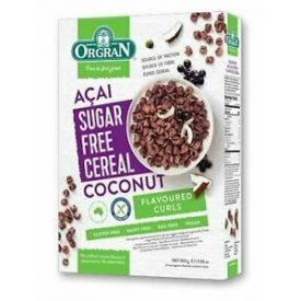 Becukriai ryžių miltų dribsniai ORGRAN su kokosų ir acai uogų skoniu, 200 g