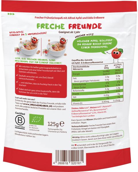 Sausi pusryčiai kukurūzai-žiedeliai FRECHE FREUNDE su obuoliais ir braškėmis, nuo 1 m., 125 g 2
