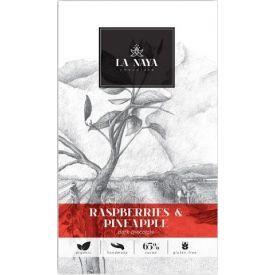 Juodasis šokoladas su avietėmis ir ananasais LA NAYA, 65%, 80g