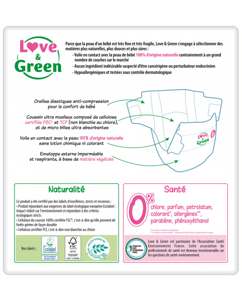 Ekologiškos sauskelnės LOVE&GREEN, 6 dydžio, 15+ kg, 34 vnt. 2