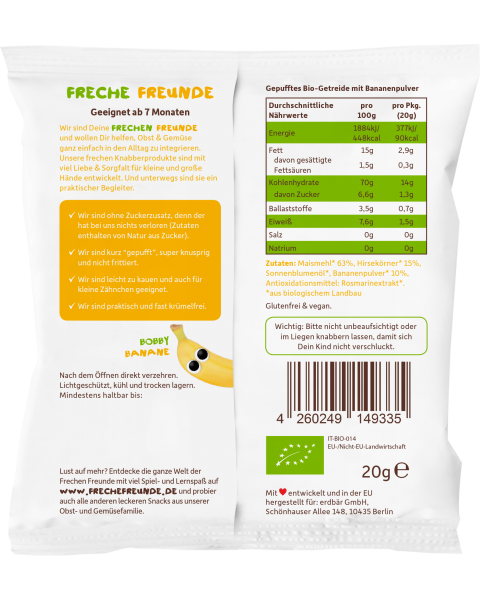 Ekologiški kukurūzai FRECHE FREUNDE su soromis ir bananais, nuo 7 mėn., 20 g 2