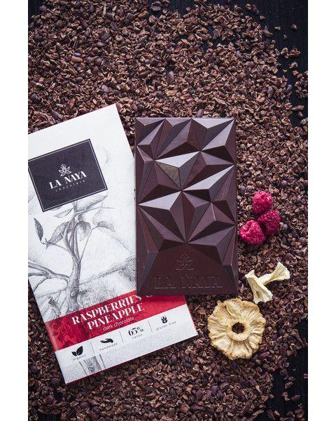 Juodasis šokoladas su avietėmis ir ananasais LA NAYA, 65%, 80g 2