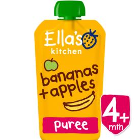 Ekologiška obuolių ir bananų tyrelė ELLA'S KITCHEN kūdikiams nuo 4 mėn., 120 g