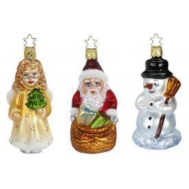 """Rankų darbo kalėdinių žaisliukų rinkinys INGE-GLAS® """"Linksmų kalėdų"""", 3 žaisliukai, 11 cm, 1 vnt."""