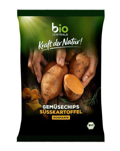 Ekologiški saldžiųjų bulvių traškučiai su rozmarinu BIOZENTRALE, 75g