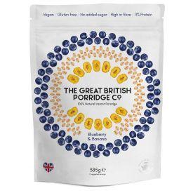 Greito paruošimo avižinė košė THE GREAT BRITISH PORRIDGE CO su mėlynėmis ir bananais, 385 g