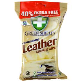 Servetėlės GREEN SHIELD odiniams paviršiams valyti, 70 vnt