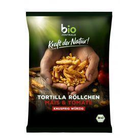 Ekologiški kukurūzų traškučių ritinėliai su pomidorais BIOZENTRALE, 125g