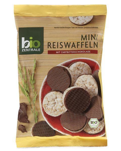 Ekologiški mini rudųjų ryžių trapučiai BIOZENTRALE su juoduoju šokoladu, 60g