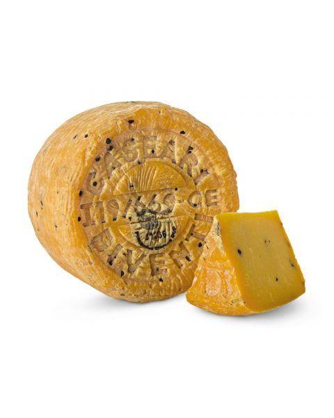 """Avių pieno sūris """"PIACENTINU ENNESE  DI VENTI"""" DOP su pipirais ir šafranu, brand. 5 mėn, 1 kg"""