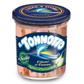Tuno file L'ISOLA D'ORO alyvuogių aliejuje su česnaku ir petražolėmis, 190 g