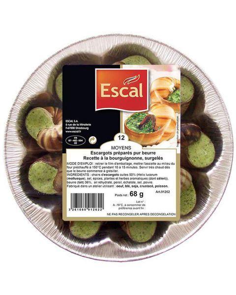 Sraigės su česnakinių sviestu ESCAL, 12vnt, 68g