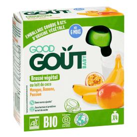 Ekologiškos tyrelės GOOD GOUT kokosų pieno, mangų, bananų ir pasiflorų skonio, 4x85g., nuo 6 mėnesių