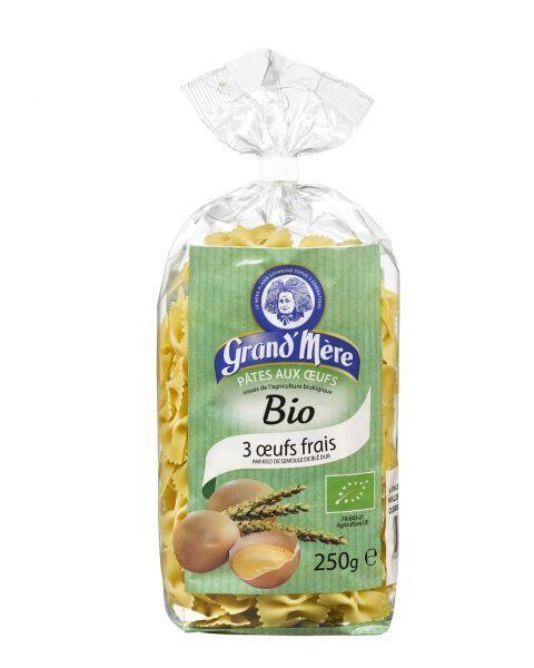 Ekologiški makaronai su kiaušiniais GRAND'MERE BIO kaspinėliai, 250 g.